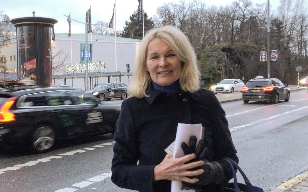 Pia Tengvall efter en intervju i P4 Extra med Titti Schultz